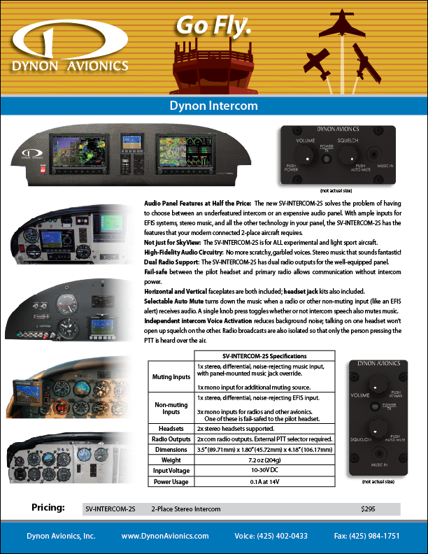 Dynon SkyView two-place intercom brochure