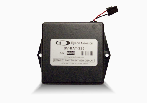 A back up battery provides at least an hour of power to a single SkyView display and all connected SkyView Network Modules