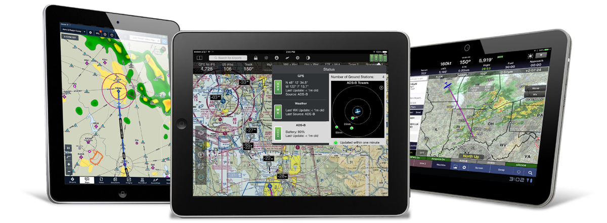 Connect the DRX to your tablet or phone via Wi-Fi to send GPS position and subscription-free ADS-B Traffic and Weather to your favorite aviation app.