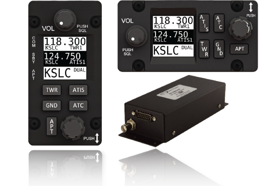 SkyView's dedicated COM radio interface for communicating with the Tower and ground frequencies