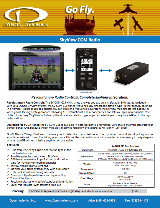 View or Download The Dynon SkyView COM Radio Product Brochure