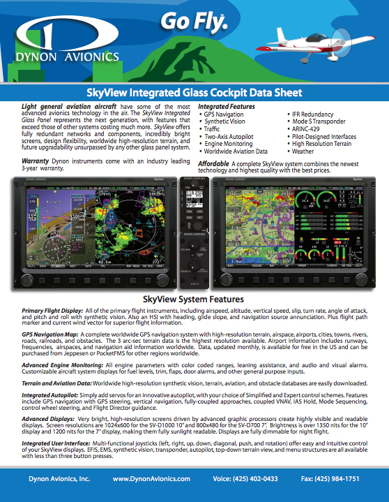 View or Download The Dynon SkyView Overview Product Brochure