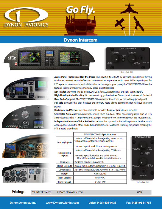 View or Download The Dynon SkyView Two-Place Stereo Intercom Product Brochure